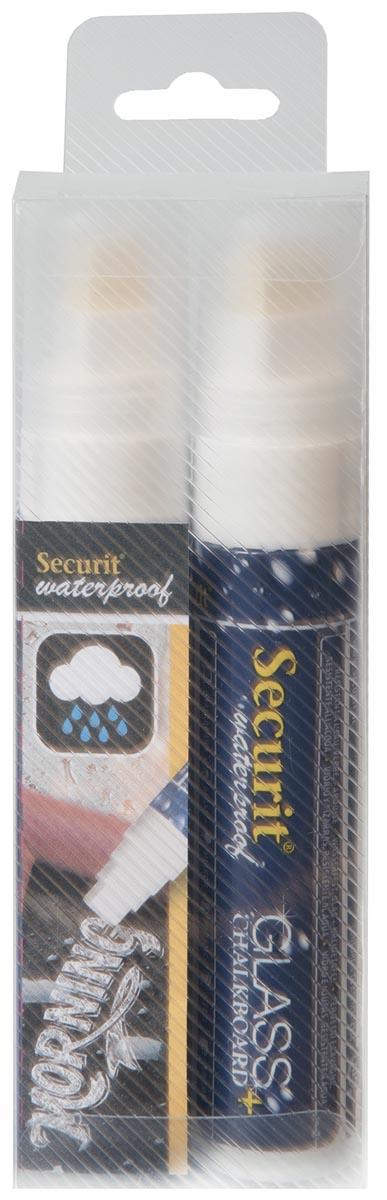 Securit Waterproof krijtmarker large wit, blister met 2 stuks
