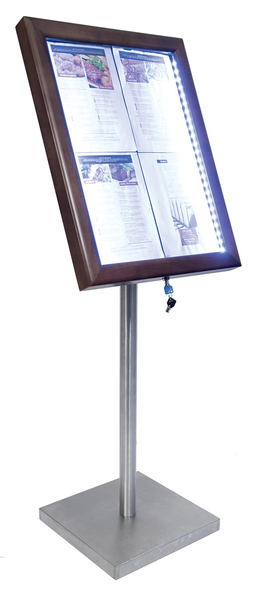 Securit led informatie display Classic ft 4 x A4, donkerbruin