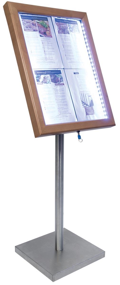 Securit led informatie display Classic ft 4 x A4, teak