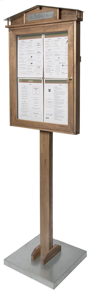 Securit led infodisplay Rustic mahonie + voet