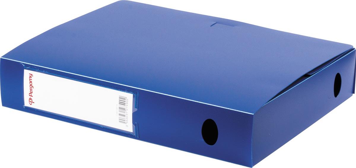 Pergamy elastobox, voor ft A4, uit PP van 700 micron, rug van 6 cm, blauw