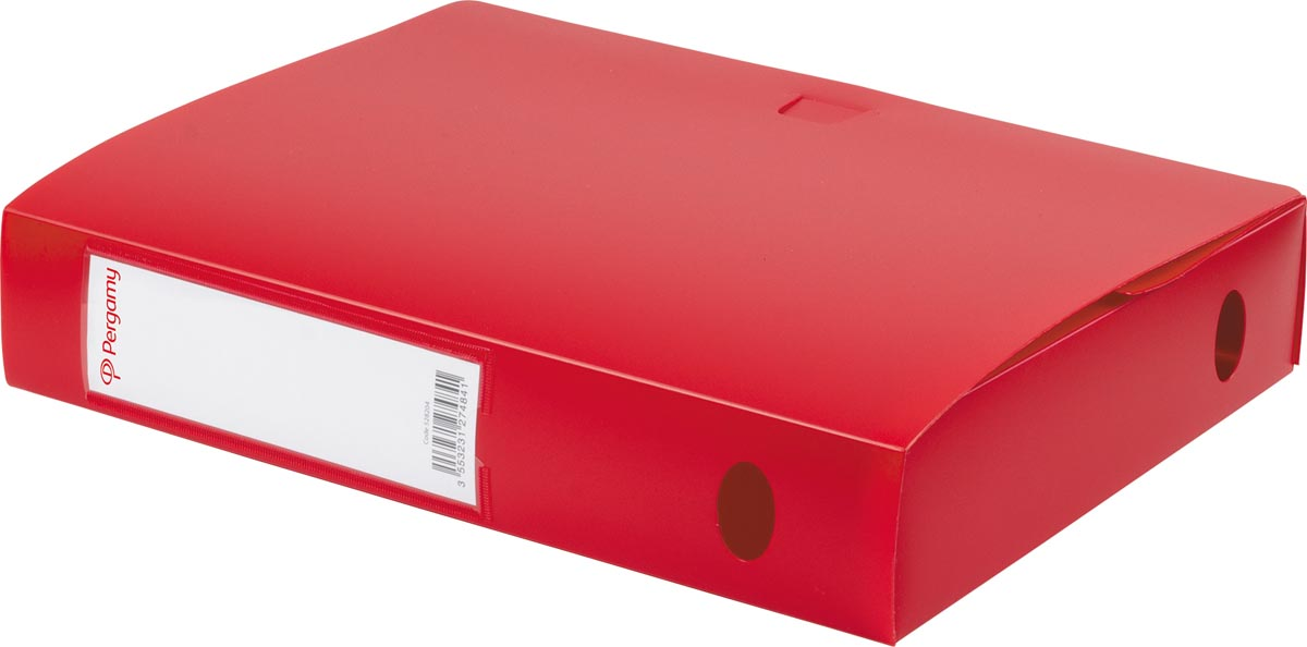 Pergamy elastobox, voor ft A4, uit PP van 700 micron, rug van 6 cm, rood