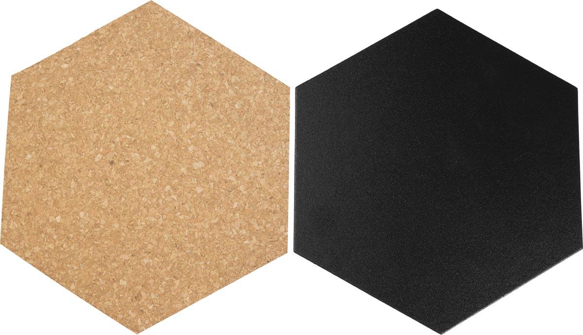 Securit zeshoekig krijt- en kurkbord, set van 7 stuks