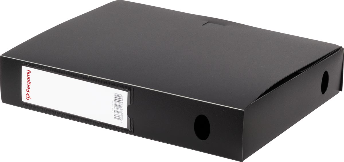 Pergamy elastobox, voor ft A4, uit PP van 700 micron, rug van 6 cm, zwart