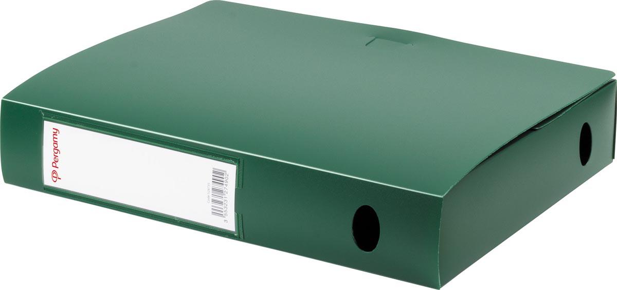 Pergamy elastobox, voor ft A4, uit PP van 700 micron, rug van 6 cm, groen