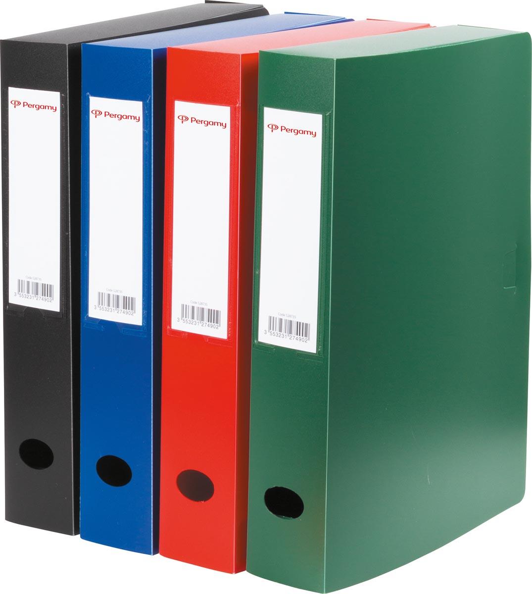 Pergamy elastobox, voor ft A4, uit PP van 700 micron, rug van 6 cm, in geassorteerde kleuren