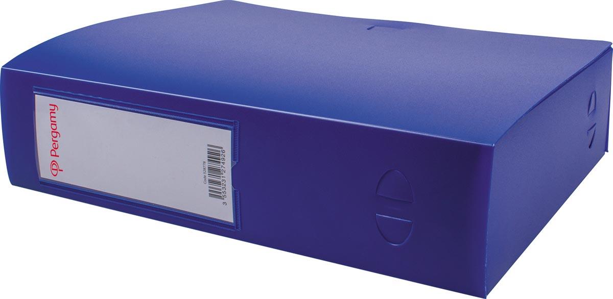 Pergamy elastobox, voor ft A4, uit PP van 700 micron, rug van 8 cm, blauw