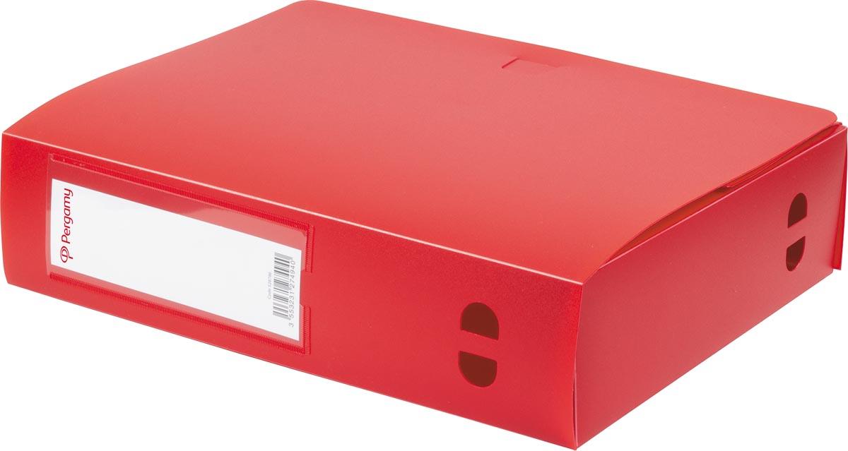 Pergamy elastobox, voor ft A4, uit PP van 700 micron, rug van 8 cm, rood