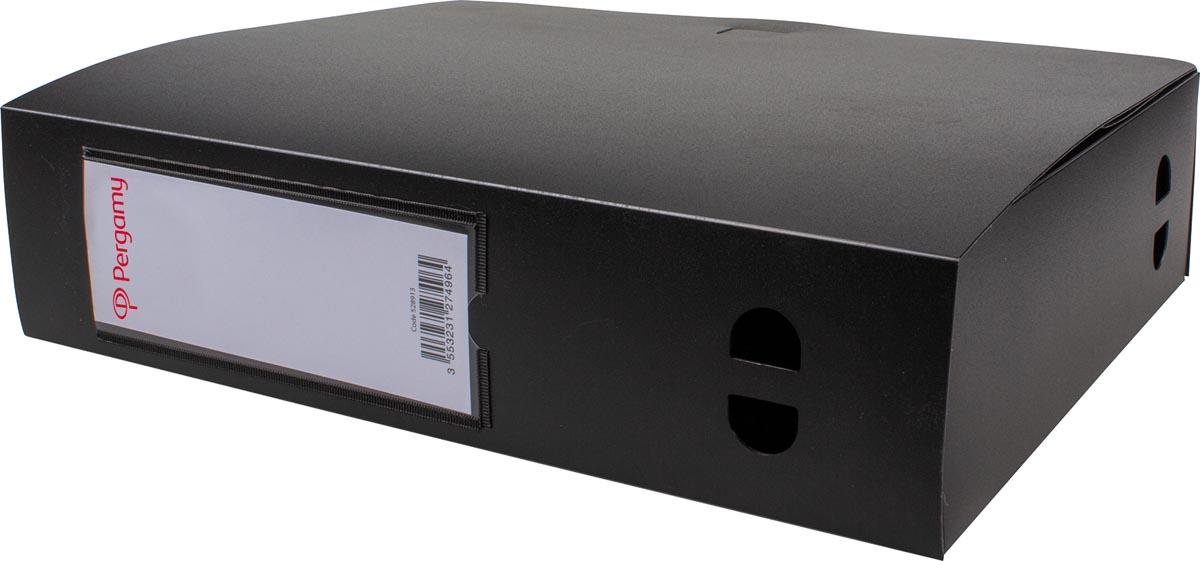Pergamy elastobox, voor ft A4, uit PP van 700 micron, rug van 8 cm, zwart