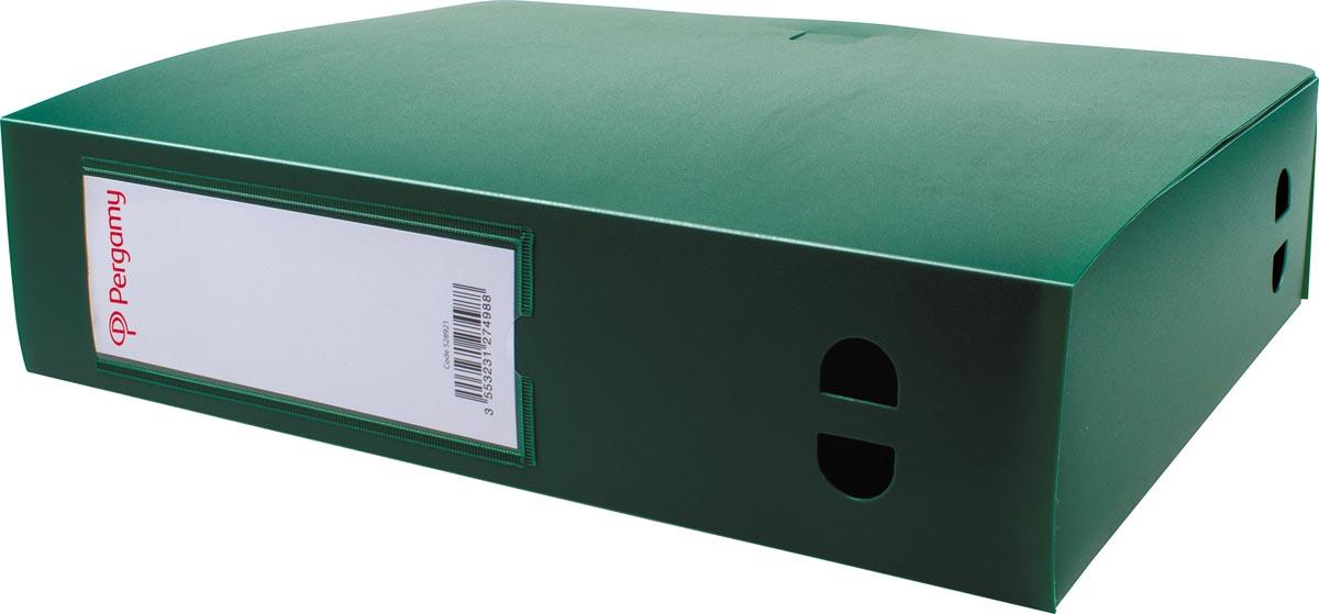 Pergamy elastobox, voor ft A4, uit PP van 700 micron, rug van 8 cm, groen