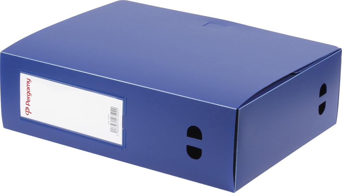 Pergamy elastobox, voor ft A4, uit PP van 700 micron, rug van 10 cm, blauw