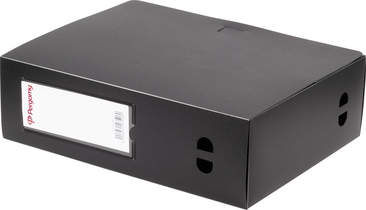 Pergamy elastobox, voor ft A4, uit PP van 700 micron, rug van 10 cm, zwart