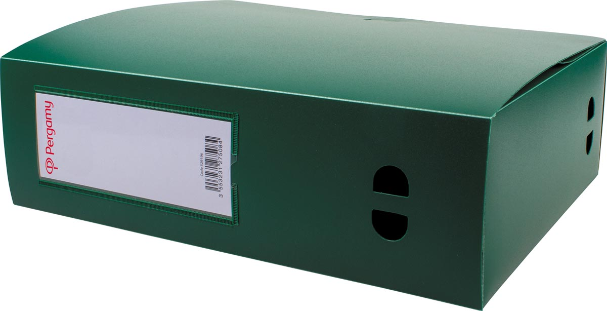 Pergamy elastobox, voor ft A4, uit PP van 700 micron, rug van 10 cm, groen
