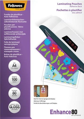 Fellowes lamineerhoes Enhance80 zelfklevend ft A4, 160 micron (2 x 80 micron), pak van 100 stuks