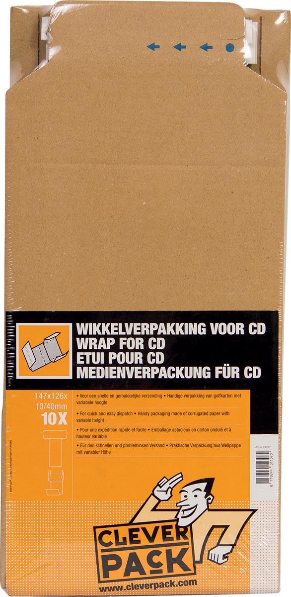Cleverpack wikkelverpakking uit golfkarton, ft 126 x 147 x 10 / 40 mm, pak van 10 stuks-3