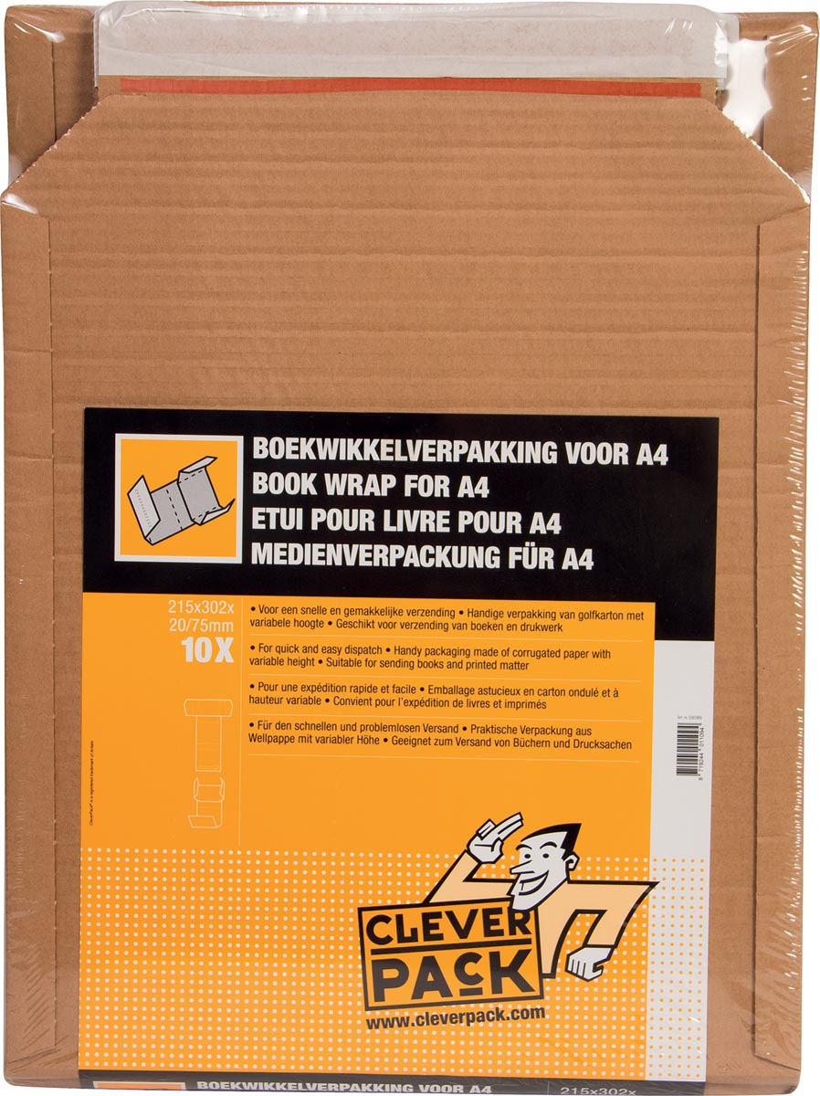 Cleverpack wikkelverpakking uit golfkarton, ft 215 x 305 x 20 / 80 mm, pak van 10 stuks-3
