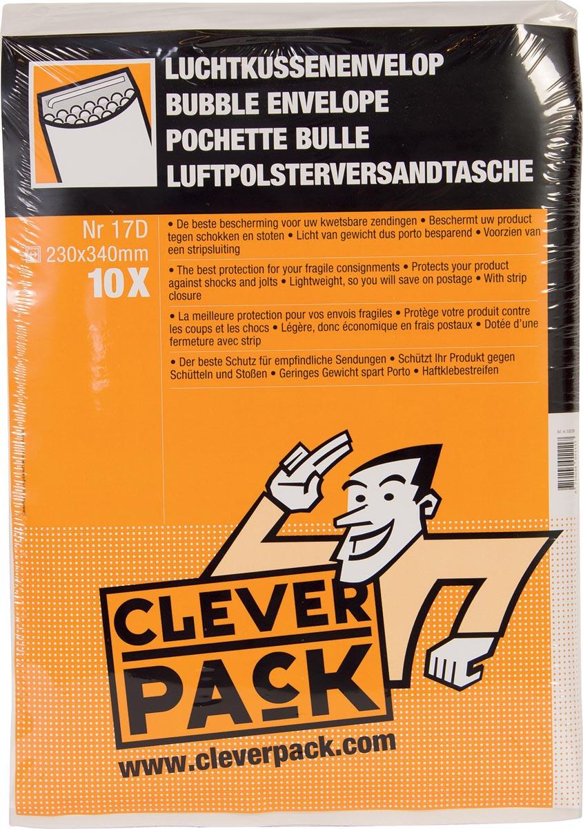 Cleverpack luchtkussenenveloppen, ft 230 x 340 mm, met stripsluiting, wit, pak van 10 stuks