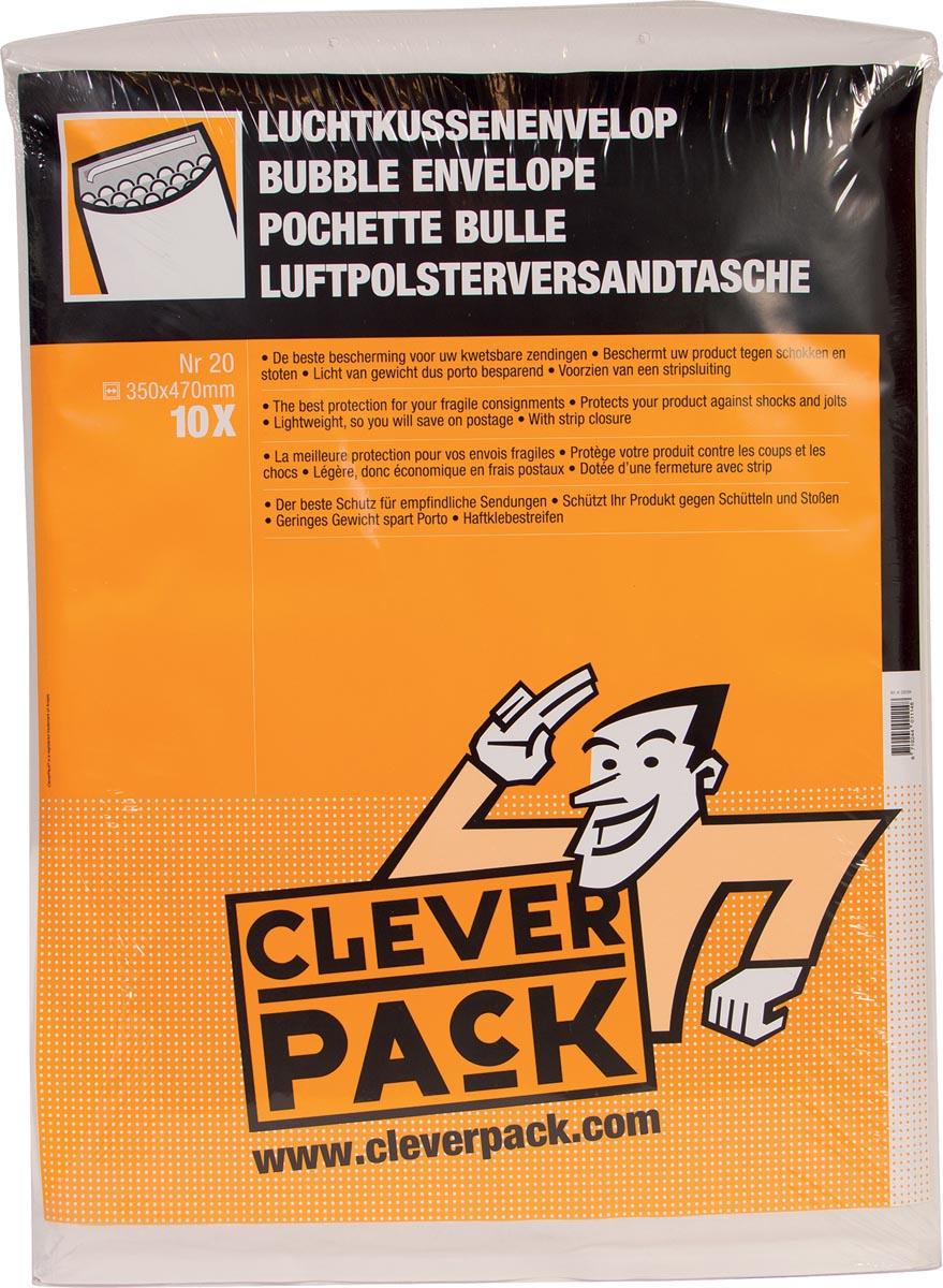 Cleverpack luchtkussenenveloppen, ft 350 x 470 mm, met stripsluiting, wit, pak van 10 stuks