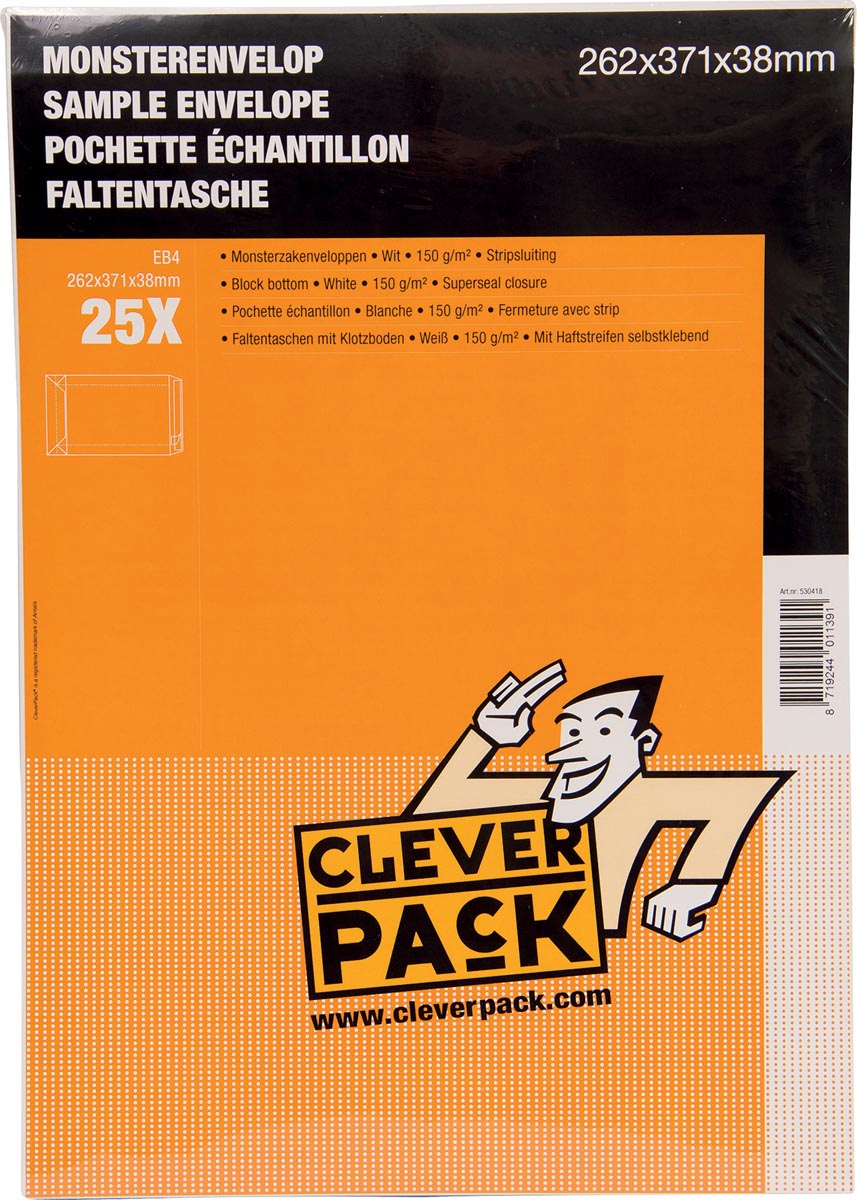 Cleverpack monsterenveloppen, ft 262 x 371 x 38 mm, met stripsluiting, wit, pak van 25 stuks