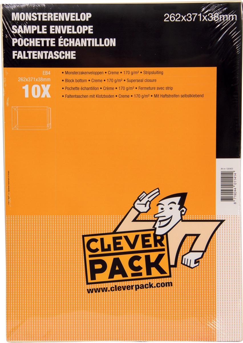 Cleverpack monsterenveloppen, ft 262 x 371 x 38 mm, met stripsluiting, crème, pak van 10 stuks