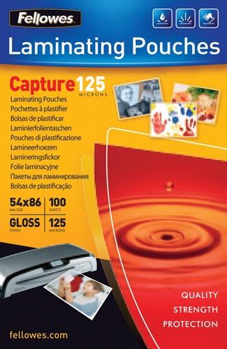 Fellowes lamineerhoes Capture125 ft 54 x 86 mm, 250 micron (2 x 125 micron), pak van 100 stuks