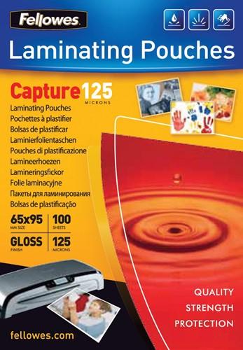Fellowes lamineerhoes Capture125 ft 65 x 95 mm, 250 micron (2 x 125 micron), pak van 100 stuks