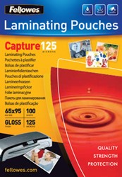 Fellowes lamineerhoes ft 65 x 95 mm, 250 micron (2 x 125 micron), pak van 100 stuks