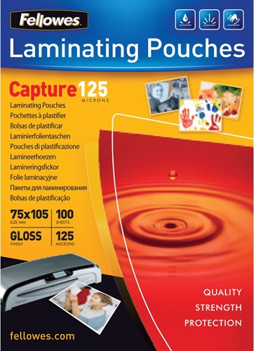 Fellowes lamineerhoes Capture125 ft 75 x 105 mm, 250 micron (2 x 125 micron), pak van 100 stuks