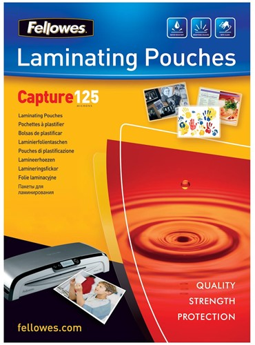 Fellowes lamineerhoes Capture125 ft 83 x 113 mm, 250 micron (2 x 125 micron), pak van 100 stuks
