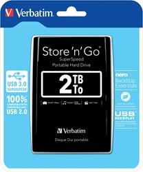 Verbatim harde schijf 3.0 Store 'n' Go, 2 TB, zwart
