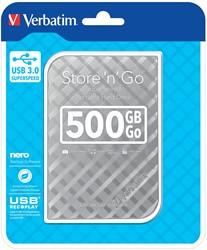Verbatim harde schijf 3.0 Store 'n' Go, 500 GB, zilver