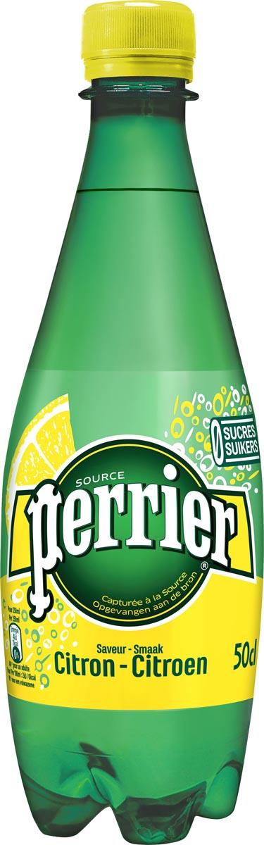 Perrier aromatiserend bruiswater smaak citroen, fles van 50 cl, pak van 24 stuks