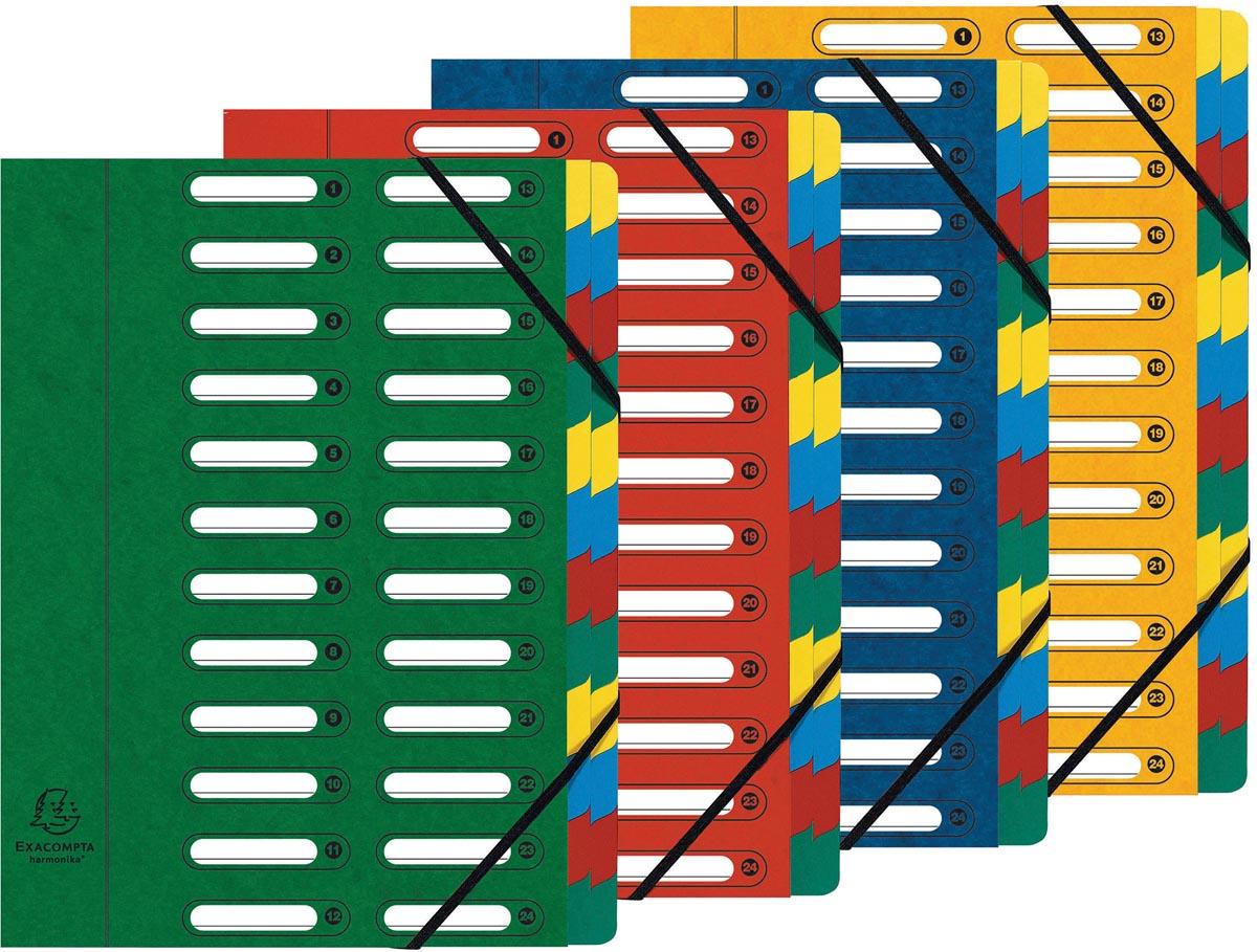 Exacompta sorteermap Harmonika, uitrekbare rug, met elastieken, uitgesneden vensters, 24 vakken, ass