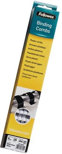 Fellowes bindruggen, doos van 25 stuks, 6 mm, wit