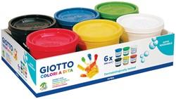 Giotto vingerverf, 6 potjes van 200 ml in geassorteerde kleuren