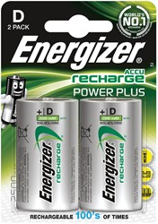 Energizer herlaadbare batterijen Power Plus D, blister van 2 stuks