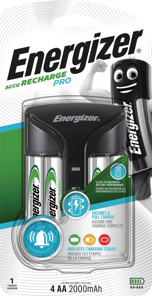Energizer batterijlader Pro Charger, inclusief 4 x AA batterij, op blister