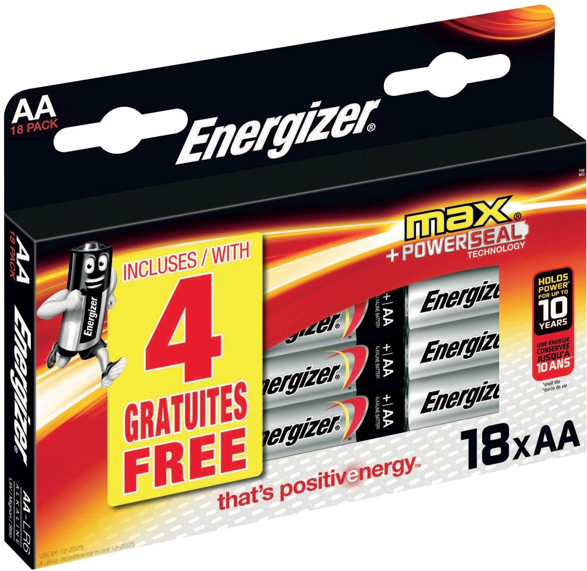 Energizer batterijen Max AA, blister van 14+4 gratis