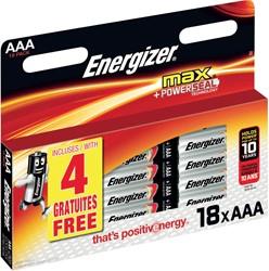 Energizer batterijen Max AAA, blister van 14+4 gratis