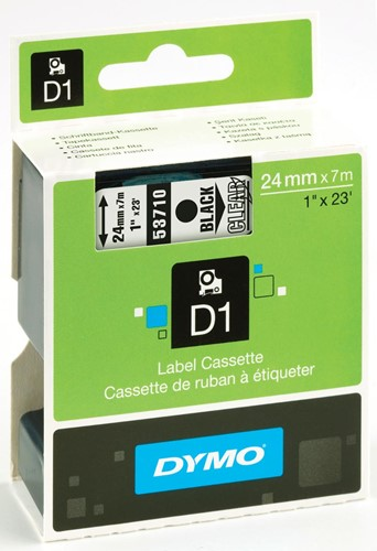 Dymo D1 tape 24 mm, transparant op zwart