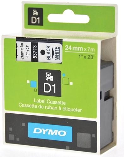 Dymo D1 tape 24 mm, zwart op wit