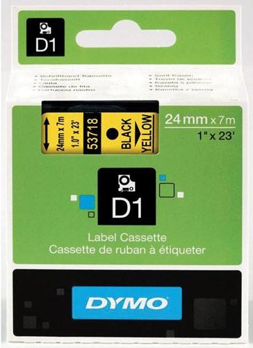 Dymo D1 permanente polyestertape 24 mm, zwart op geel
