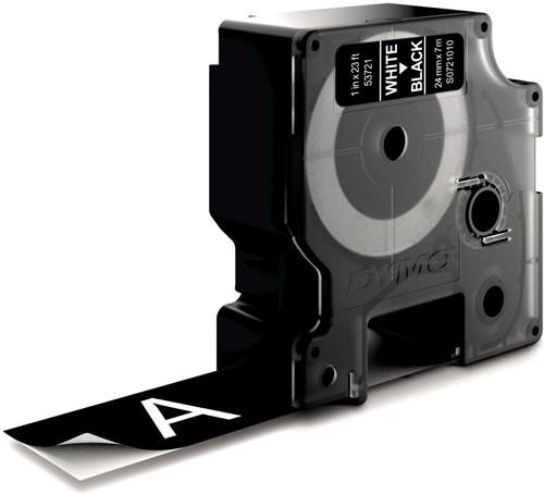Dymo D1 permanente polyestertape 24 mm, wit op zwart