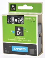 Dymo D1 permanente polyestertape 24 mm, wit op zwart-2