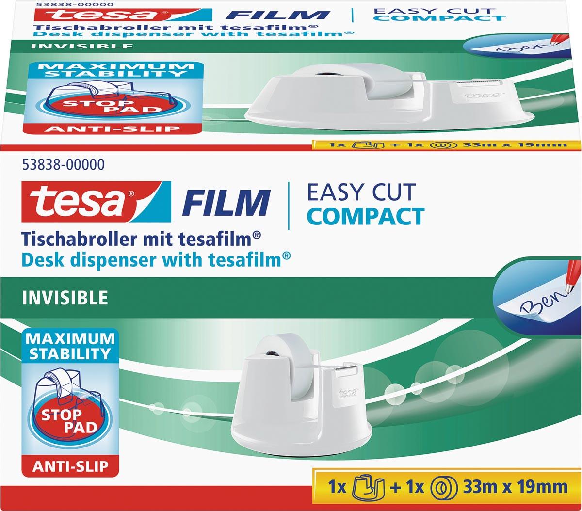 Tesa plakbandafroller Easy Cut Compact, voor rollen van ft 33 m x 19 mm, wit
