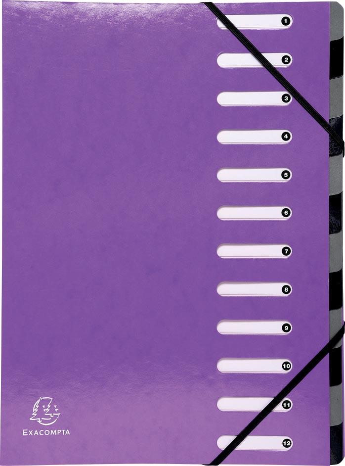 Exacompta Iderama sorteermap, 12 vakken, met elastosluiting, paars