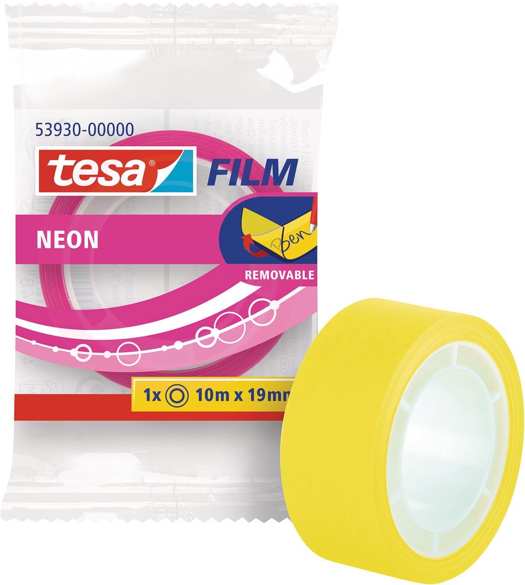 Tesafilm Neon tape, ft 19 mm x 10 m, geassorteerde kleuren: geel of roze