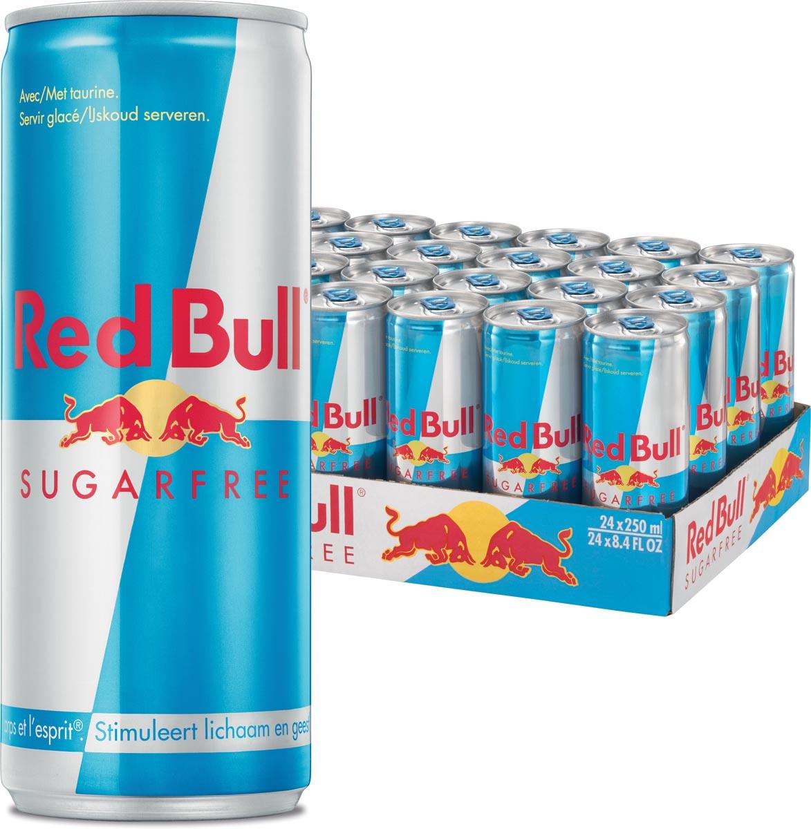 Red bull energiedrank 25 cl, pak van 24 stuks, sugarfree
