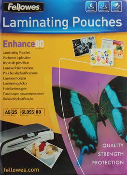 Fellowes lamineerhoes ft 154 x 216 mm,  160 micron (2 x 80 micron), pak van 25 stuks