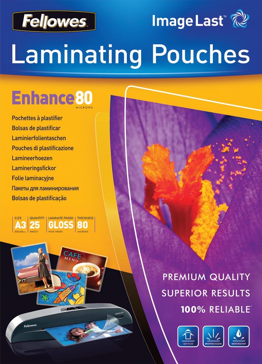 Fellowes lamineerhoezen ft A3, 160 micron (2 x 80 micron), glanzend, pak van 25 stuks